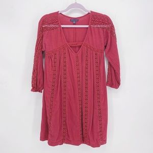 AEO Eyelet Lace Peasant A-Line Dress